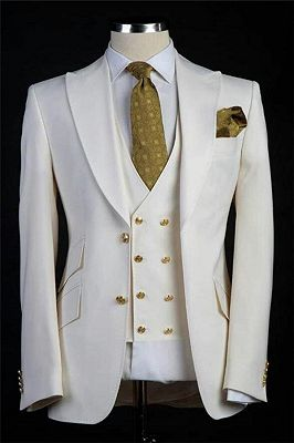 White Wedding Groom Suits   Bespoke Gold Buttons Tuxedos for Men 3 Pieces_1