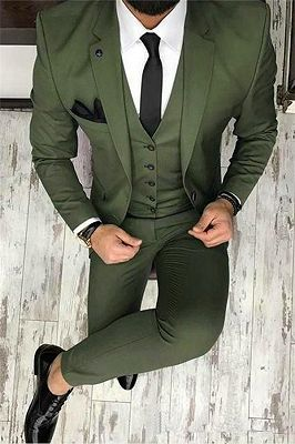 Olive Slim Fit Prom Suit Online | Bespoke Outfits Tuxedo for Graduation ,Wedding Suit Three Pieces_1