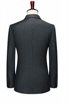 Double Breasted Black Men Jacket   Peak Lapel Grey Stripe Blazer Online_2