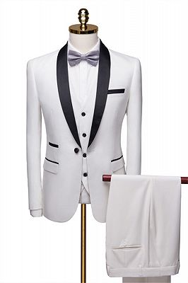 New Fashion White Shawl Lapel Men Suit | Casual Slim Fit Prom Groom Business Host Wedding Suit Tuxedos_1