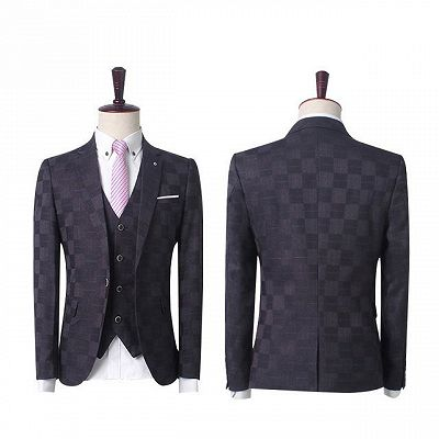 Dark Red Plaid Business Men Suits | Prom Men Suits with 3 Pieces_4