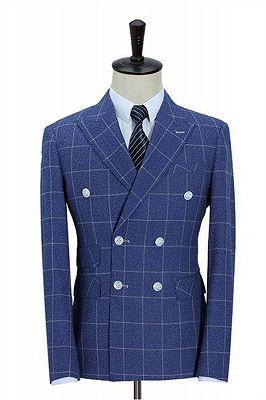 Double-Breasted Ocean Blue Business Men Blazer   Men's Wedding Plaid Slim Fit Tuxedo_1