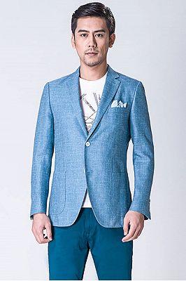 Fashion Blue Jacket | Notched Lapel Men Suit_1