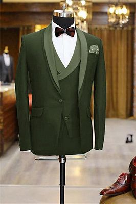 Newest Olive Green Shawl Lapel Tuxedo | 3 Pieces Men Prom Dress Suits Tuxedos_1