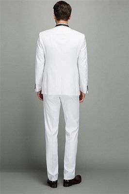 Elegant Men's Two Piece Wedding Groom Suits | Slim Fit Shawl White Tuxedo_2