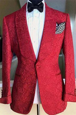 Red Jacquard Floral Patter Jacket for Men | Wedding Formal Groomsman Suits Blazer_1