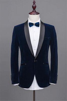 Navy Blue Shawl Lapel Velvet Prom Suits | 2020 Best Man Tuxedos 2 Pieces_2