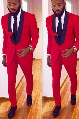 2 Pieces Red Men Suits with One Button | Latest Coat Pant Design Shawl Collar Prom Tuxedo_1