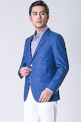 Blue blended Blazer | Formal Business Jacket with Two Button_1