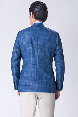 Elegant Peak Lapel Check Blazer | Blue Plaid Fit Jacket_2