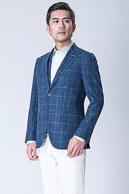 Casual Blended Blue Outdoor Balzer | Business Plaid Jacket Online_2
