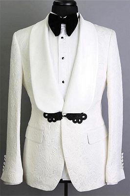 White Shawl Lapel Tailored Jacquard Groom Suits | Elegant Slim Fit Tuxedos for Wedding 2 Pieces_1