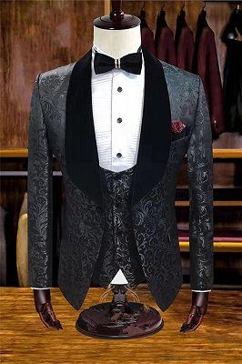 White Jacquard Wedding Tuxedos | Velvet Lapel Men Suits for Groom 3 Pieces_2