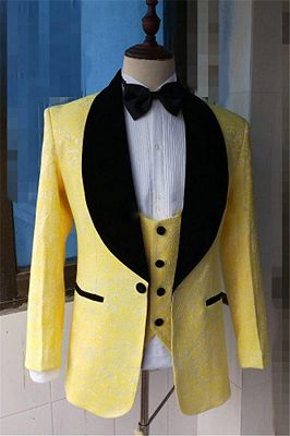 Yellow Slim Fit Lapel Shawl Prom Dress Suit | Bespoke Jacquard Men Formal Party Blazer_2
