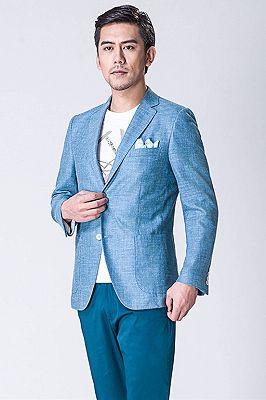 Fashion Blue Jacket | Notched Lapel Men Suit_3
