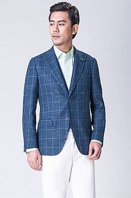 Casual Blended Blue Outdoor Balzer | Business Plaid Jacket Online_3