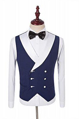 Navy Blue Groomsmen White Shawl Lapel | One Button Wedding Tuxedos 3 Pieces_2