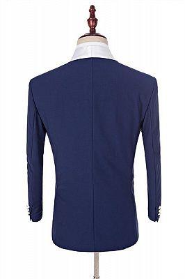 Navy Blue Groomsmen White Shawl Lapel | One Button Wedding Tuxedos 3 Pieces_4