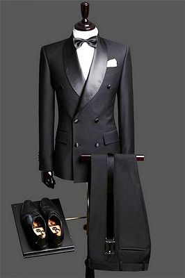 Black Double Breast Wedding Suits Tuxedos | Satin Lapel 2 Pieces(Jacket pants) for wedding/prom_1