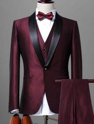 Classic Dark Purple Shawl Lapel Black Wedding Tuxedo| Bespoke Prom Dress Suit 3 Pieces_4