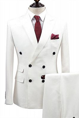 White Bouble Breast Wedding Dress Suits | Men Groom Tuxedos with 2 Pieces_1