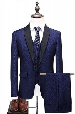 Navy Blue Shawl Lapel Prom Suits   Business Tuxedo with three Pieces_1