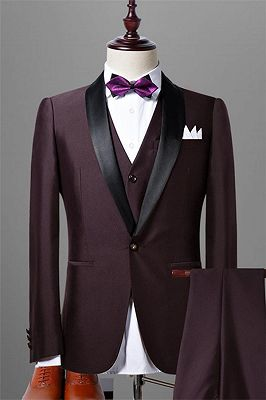 Solid Dark Maroon Wedding Tuxedos for Men | Slim Fit 3 Pieces Dress Prom Suits_1