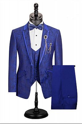 Royal Blue Paisley Pattern Dinner Prom Suits   3 Pieces Single Button For Men Stylish Jacket Outfit_1