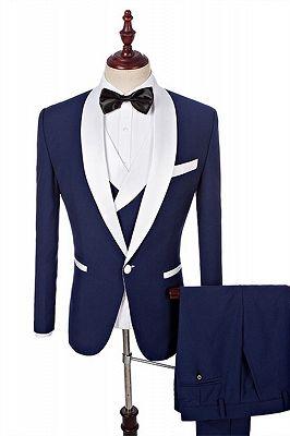 Navy Blue Groomsmen White Shawl Lapel | One Button Wedding Tuxedos 3 Pieces_3