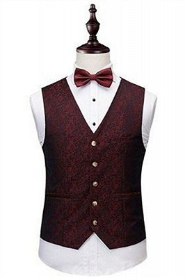 Wine Ruby Notched Laple Prom Suits for Men | Bespoke Three Pieces Jacquard Tuxedo_2