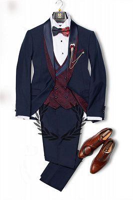 Navy Blue Dress Suits Mens Tuxedo | Bridesgroom Suit Dinner Party Fitting Suit_2