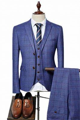 Three Pieces Men Suits for Men | Ocean Blue Plaid Prom Suits_1