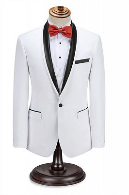 Elegant Men's Two Piece Wedding Groom Suits | Slim Fit Shawl White Tuxedo_1