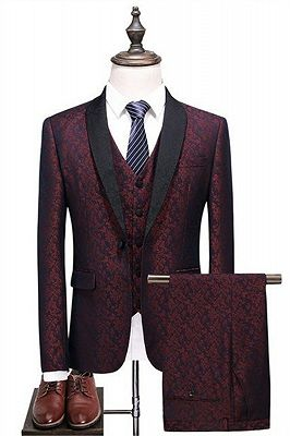 Fashion Men's Suits Burgundy Check Design Prom Suits   Three Pieces One Button Formal Tuxedos_1