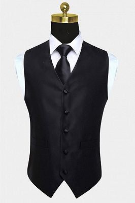 Bespoke Black Silk Formal Mens Vest Online